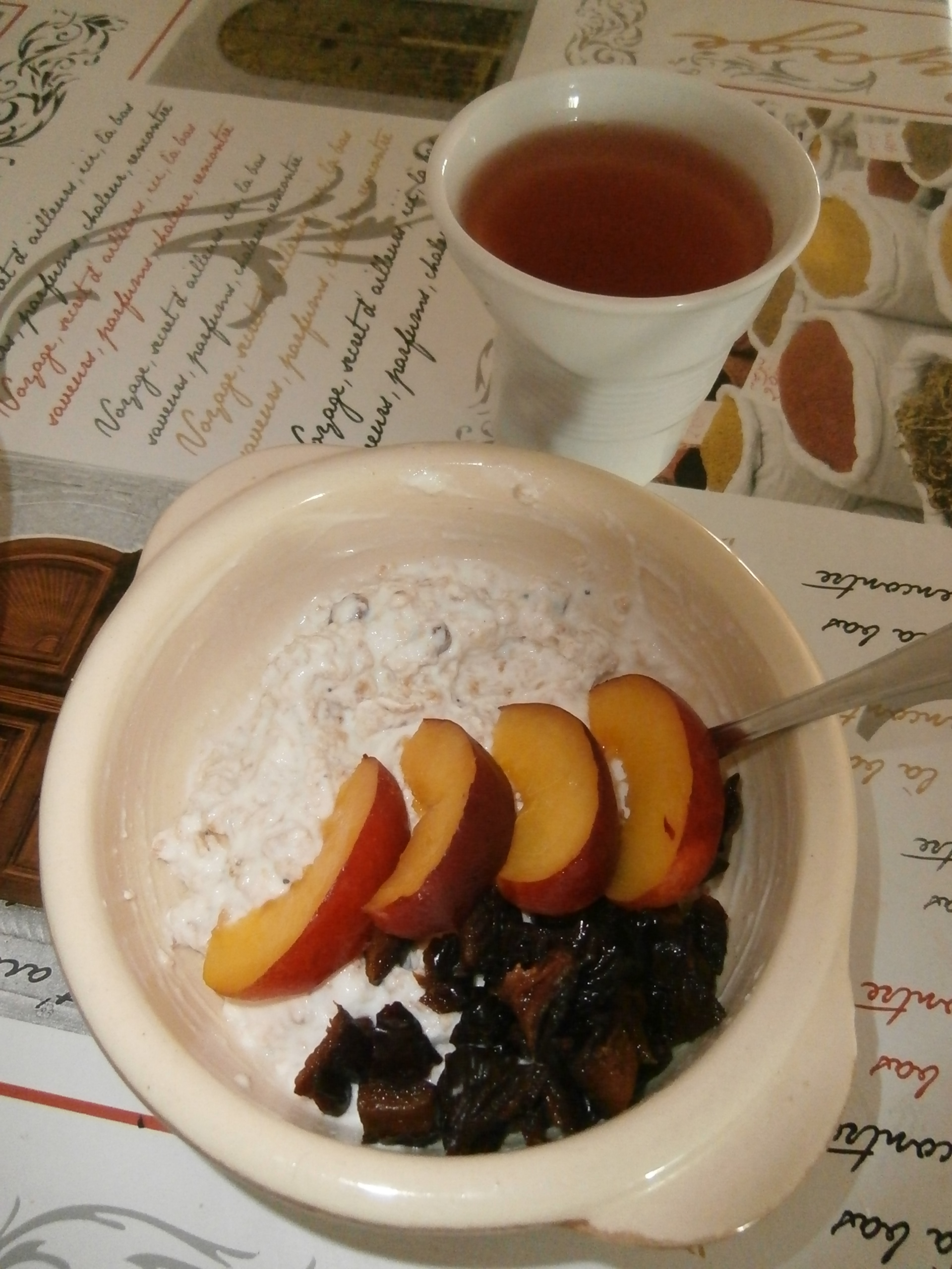 Porridge fruits secs, pruneaux, nectarine