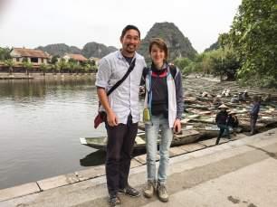 Avec Carson à l'embarcadère de Tam Coc