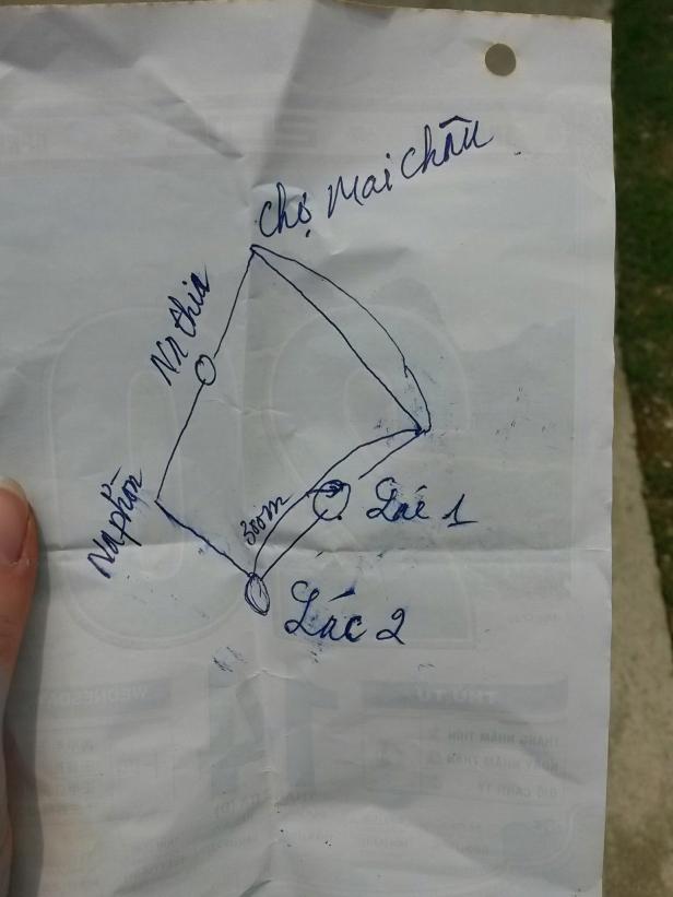 Le plan du circuit à faire, dessiné par l'hôte du Homestay