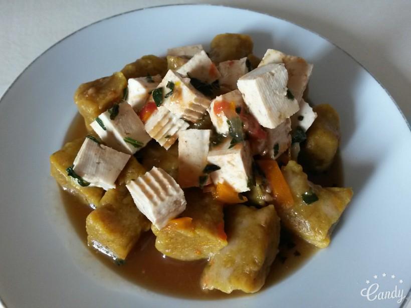Gnocchi de potimarron au tofu mariné