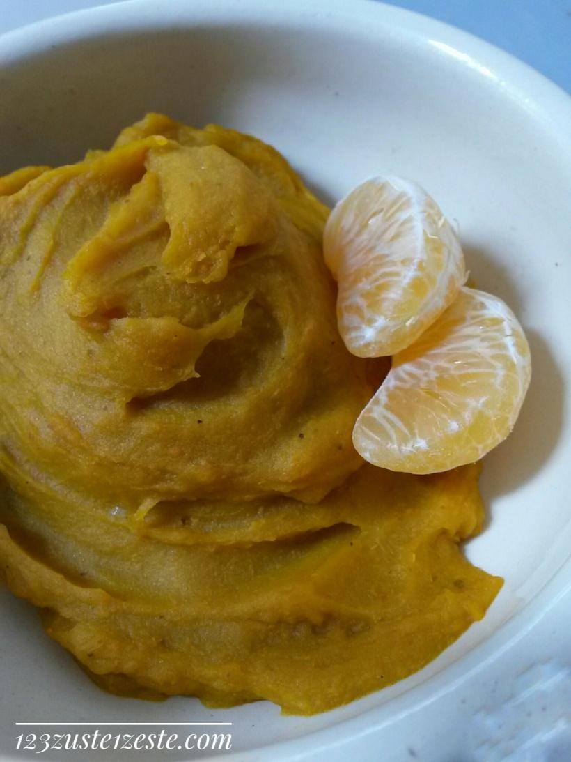 Crème vanillée de courge butternut et clémentines