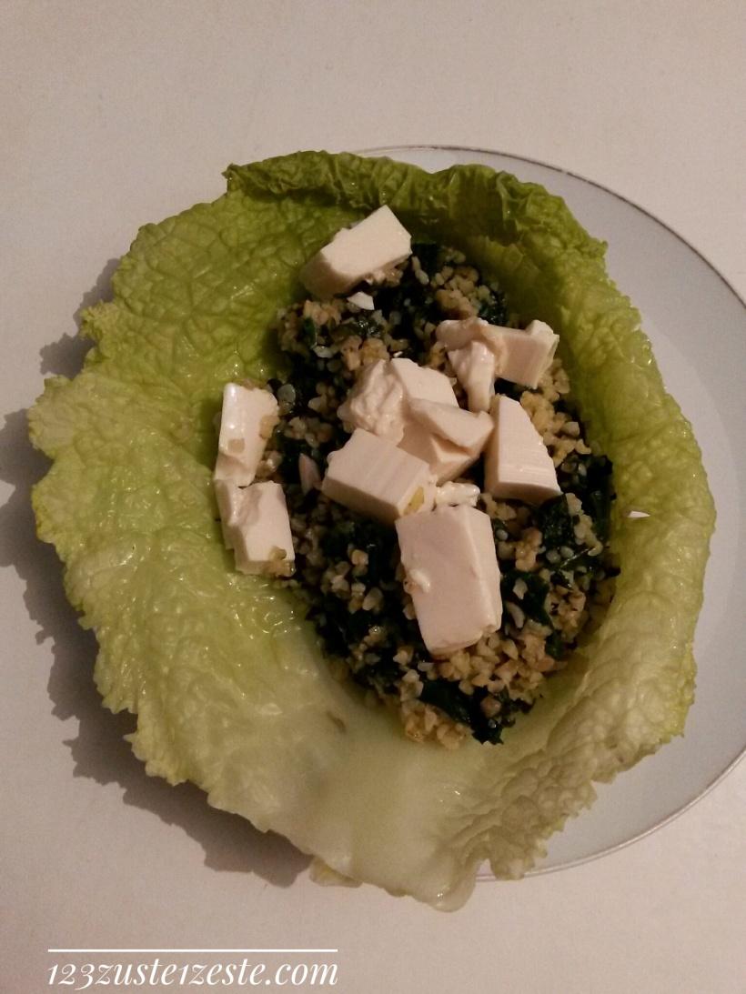 Chou farci végétarien aux épinards et tofu frais