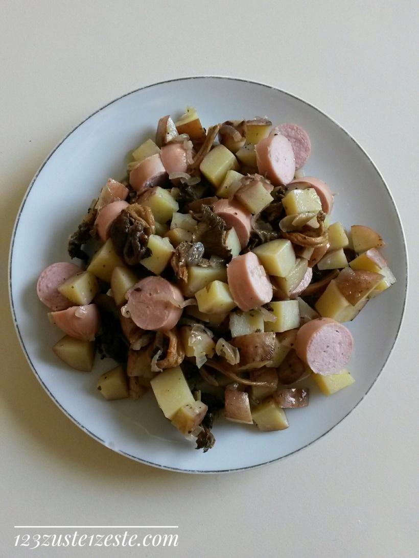 Pommes de terre sautées aux chanterelles et saucisse de Strasbourg