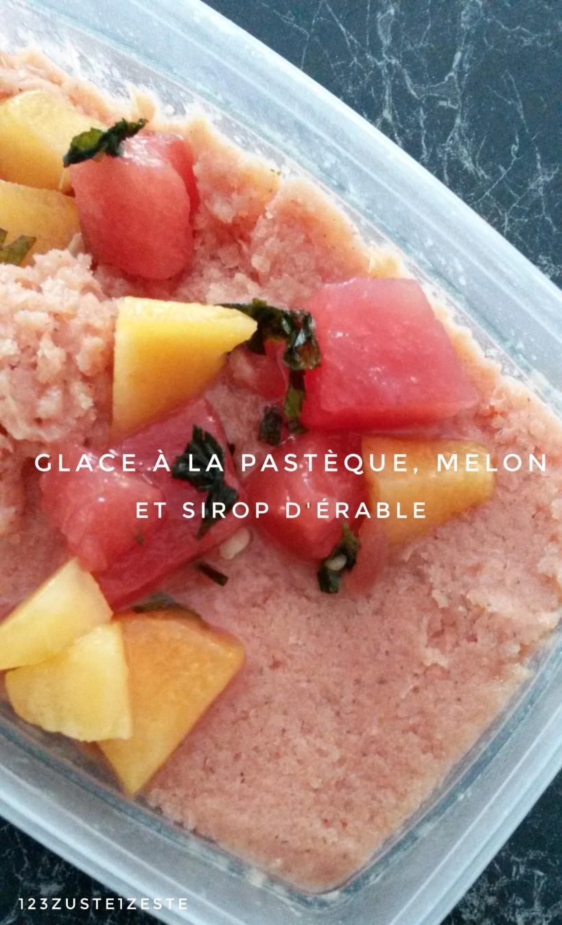 Glace à la pastèque, melon et sirop d'érable