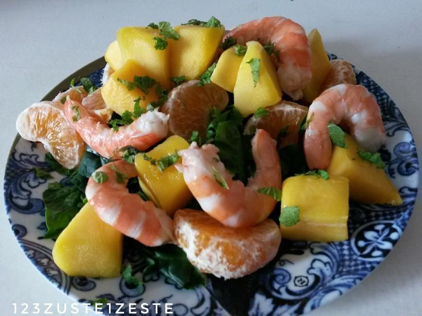 Salade de crevettes à la mangue et clémentine