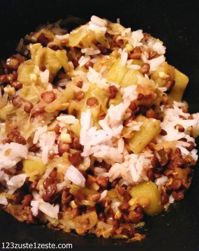 Mijoté de lentilles, rhubarbe et riz aux épices