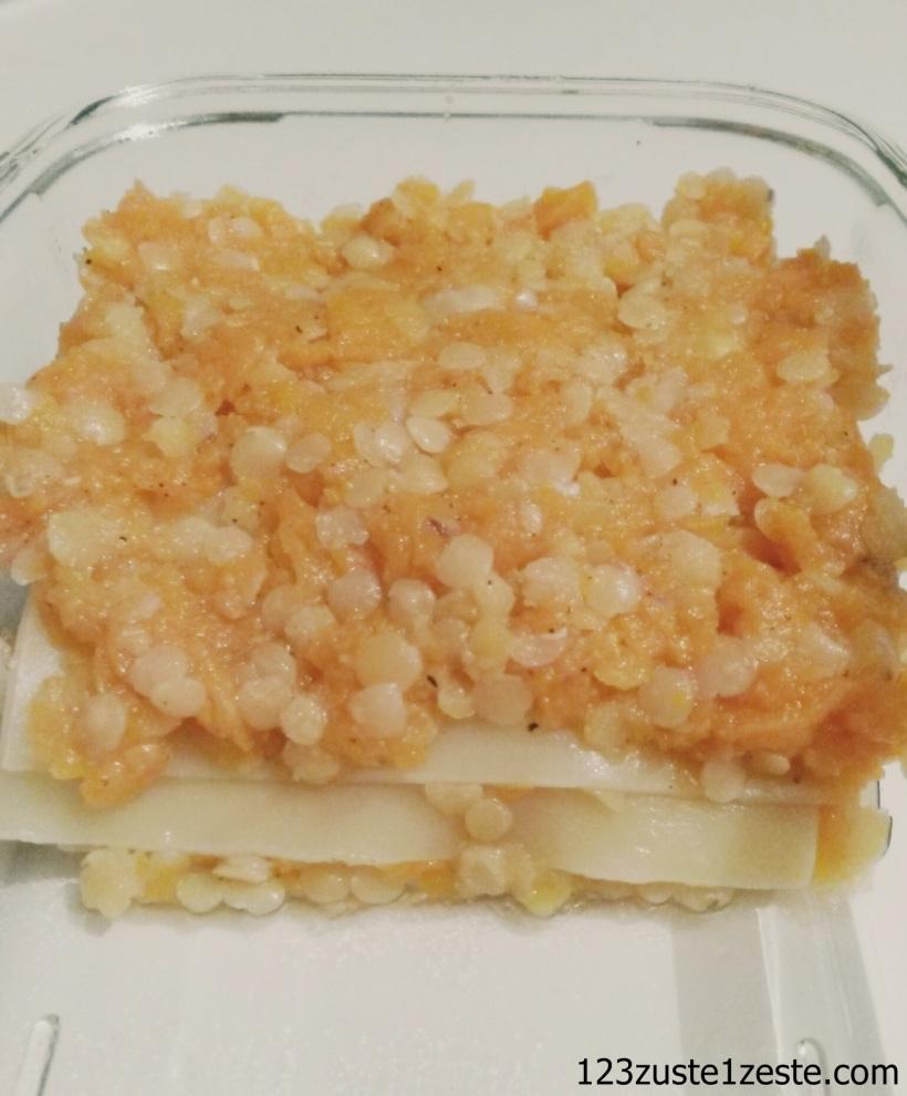 Lasagnes de lentille corail et carotte